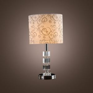 Silver Vines White Fabric Shade and Stacked Rectangular Crystal Blocks Create Strikingly Elegant Contemporary Table Lamp to Enhance any Decor
