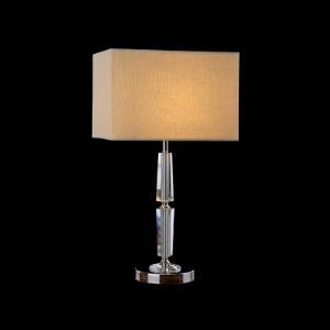 Gorgeous Table Lamp Adorned with Eye-catching Rectangle Fabric Shade and Clear Crystal Center