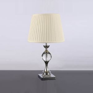 Modern Table Lamp Completed with Crystal Base and Beige Fabric Shade Perfect for Living Room
