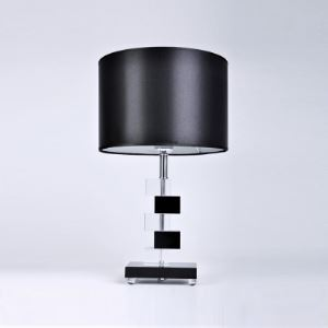 Modern Black Fabric Shade Table Lamp Featuring Gorgeous Stacked Clear and Black Crystal Blocks