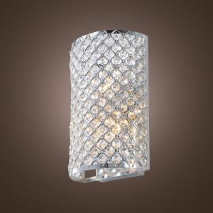 Contemporary Three-light Wall Light Fixture Adorned with Crystal Bead Mounted Polished Chrome Finish Frame Perfect for Living Room