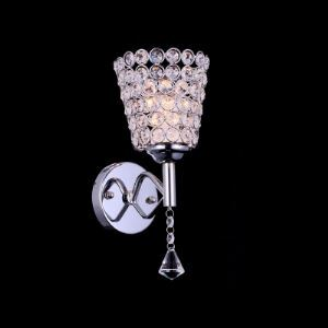 Chic Modern Tea-cup Shaped Single Light Wall Sconce Shimmery Adorned with Dazzling Crystal Beads and Polished Chrome Finish