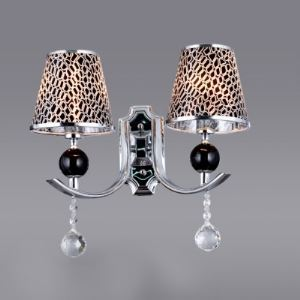 Contemporary Black-Gray Pattern Wall Sconce Adorned with Clear Crystal Balls and Graceful Scrolling Arms