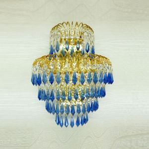 Extraordinary Three-light Wall Sconce Adorned with Unique Blue Faceted Crystal Drops and Gold Finish Frame Creating Magnificent Look