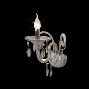 Elegant Single Candle Light Wall Sconce Offers Graceful Curving Scrolling Arms and Crystal Drops Perfect for Hallway