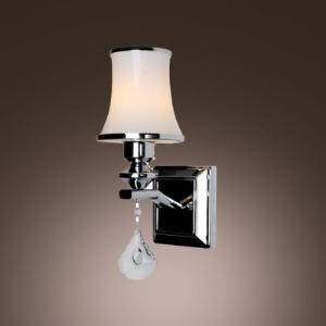Dazzling Clear Crystal Drop and White Glass Shade Embellished Chrome Finished Sparkling 10'' High Wall Sconce