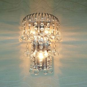 Glamorous Silver Finish and Delicate Crystal Balls and Beads Composed Splendid Three-light Wall Washer