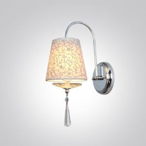Elegant Curving Scrolls and White Fabric Shade Add Glamour to Dazzling Crystal Accent Modern Wall Sconce
