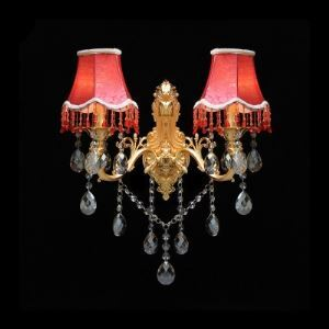 Beautiful Classic Decorative Wall Sconce Completed with Elegant Crystal Beads and Bold Red Fabric Shades