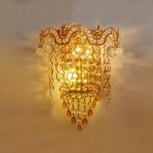 Extraordinary Scrolling Arms and Beautiful Crystal Rain Composed 12' Wide Wall Sconce Perfect for Living Room