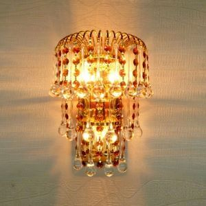 Ravishing Gold Finish and Strands of Amber Crystal Beads Add Charm to Glamorous Three-light Wall Light Fixture