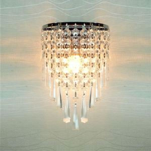 Fabulous Strands of Clear Crystal Beads Hanging From Stainless Steel Frame Add Charm to Contemporary Wall Sconce