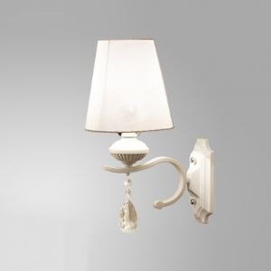 Elegant Wall Light Shimmery Crystal Droplets and White Finish Add Charm to Stunning Single Light  Wall Sconce