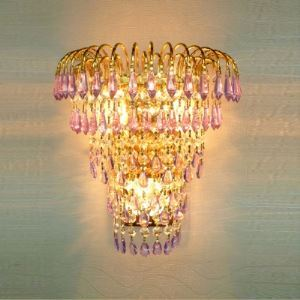Beauteous Gold Finish Three-light Wall Sconce Features Sparkling Crystal Rain Creating Glamorous Look