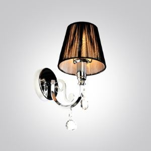 Excellent Silver Finish Paired with  Black Fabric Shade Made Crystal Accented Wall Sconce Contemporary Look