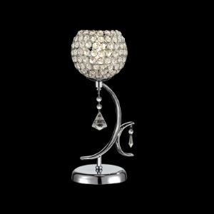 Contemporary Sphere Style Table Lamp Features Curving Scrolls and Delicate Crystal Drops
