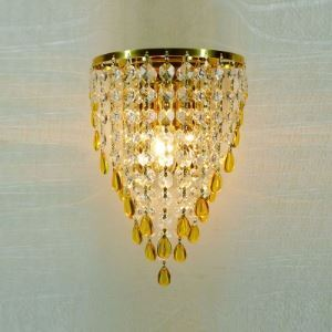 Delicate Contemporary Wall Light Fixture Completed with Gold Finish Frame and Beautiful Crystal Beads