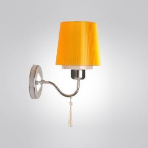 Compelling Warm Yellow Fabric Shade Wall Sconce Adorned with Faceted Crystal Bead and Graceful Scrolling Arm