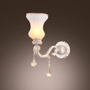Amazing Vintage Crystal-accented Wall Sconce with Ribbed Glass Shade and Elegant White Finish