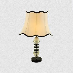 Modern Beautiful Table Lamp Feature Black Trimmed White Fabric Shade and Beautiful Crystal Embellishments