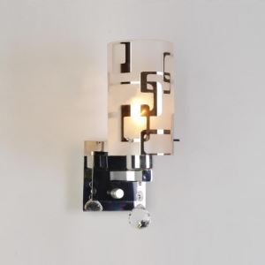 Glittering Chrome Finish and Beautiful Crystal Drop Composed ContemporarySingle Light  Wall Sconce with Cylinder Glass Shade