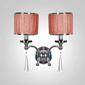 Striking Two-light  Crystal Wall Sconce Features Polished Chrome Finish and  Drum Shades
