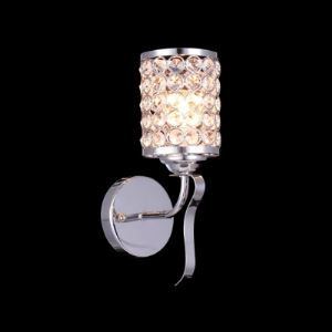 Beautiful Crystal Beads Adorned Polished Chrome Finish Iron Cylinder Frame Composed Luxurious Single Light Wall Light