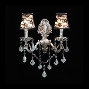 Stunning Black Flowers on White Fabric Shades Double Light Wall Sconce with Elaborate Silver Finish