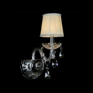 Fabulous One-light Wall Sconce Features Clear Crystal Drops and Beige Fabric Shade Creating Elegant Look