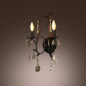 Decorative Wrought Iron Two Light Wall Sconce Crystal