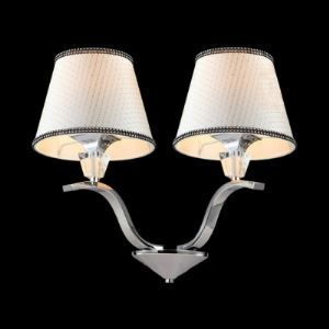 Creative Chic Horn-like Two Lights 13' High Wall Sconce Adorned  with Clear Crystal Bobeche and Gray Fabric Shades