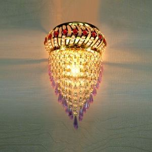 Fabulous Contemporary Royal Gold Finish Three-light Wall Sconce with Various Crystals
