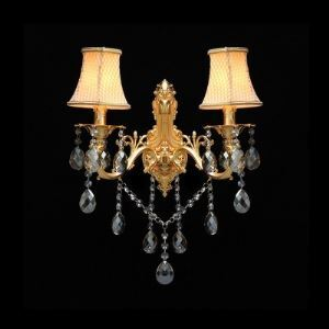 Graceful and Exquisite White Lattice Fabric Shade and  Beautiful Crystal Drops Add Glamour to Luxury Two Light Wall Sconce