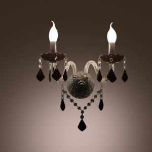 Brilliant Faceted Crystal and Clear Arms Composed Magnificent Wall Sconce with Two Candle Lights