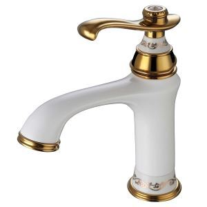 Modern Bathroom Sink Faucet Set Single Handle White