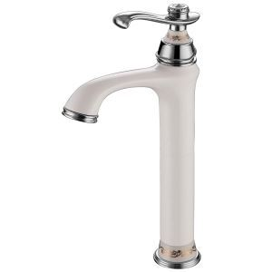 Modern Chrome Bathroom Sink Faucet Single Handle White