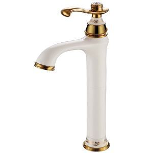 Modern Ti-PVD Bathroom Sink Faucet Single Handle White