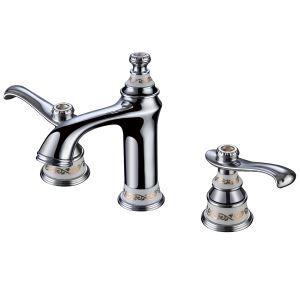 Modern Chrome Bathroom Sink Faucet 3-hole Installation Double Handle