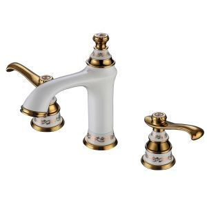 Modern Ti-PVD Bathroom Sink Faucet 3-hole Installation Double Handle White
