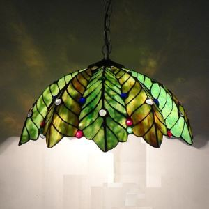 Tiffany Glass Pendent Lights with 2 Lights in Feather Pattern