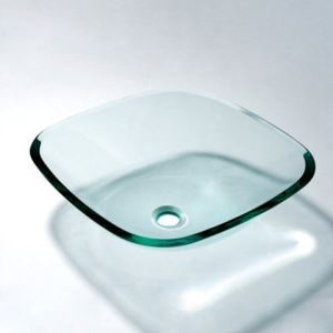VT5019 Contemporary Tempered Glass Vessel Square Sink With Water Drain and Mounting Ring