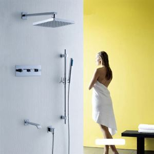 Contemporary Chrome Finished Tub Shower Faucet with 8 inch Shower Head + Hand Shower