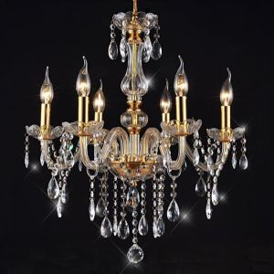 (In Stock)Chandeliers 6 Lights Golden Vintage in Crystal Feature Ceiling Lights(Dance Of Romance)
