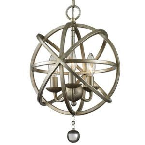 Antique Pewter 3 Light Globe Cage Foyer Pendant with Crystal Accents