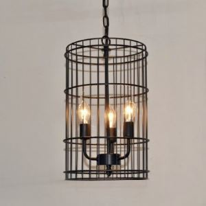 3 Light Lattice Vintage Iron Foyer Pendant Light in Black