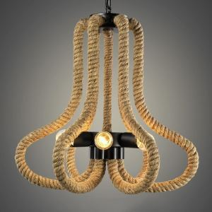 Matte Black 20 Inches Wide Natural Rope 6 Light Chandelier