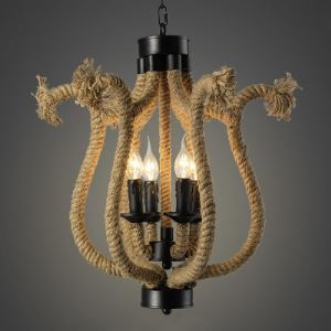 Matte Black 6 Light Chandelier with Natural Rope