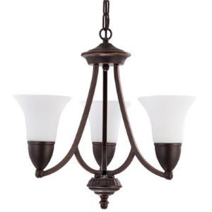 Oil Rubbed Bronze 3 Light White Glass 1 Tier Chandelier