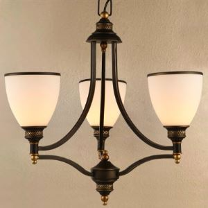 Wrought Iron 3 Light Bowl Shade Chandelier in Dark Bronze Finish