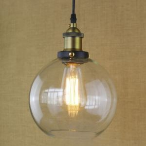 8 Inches Wide Brass 1-Light Clear Glass Globe Mini Pendant(Salty Coffee)